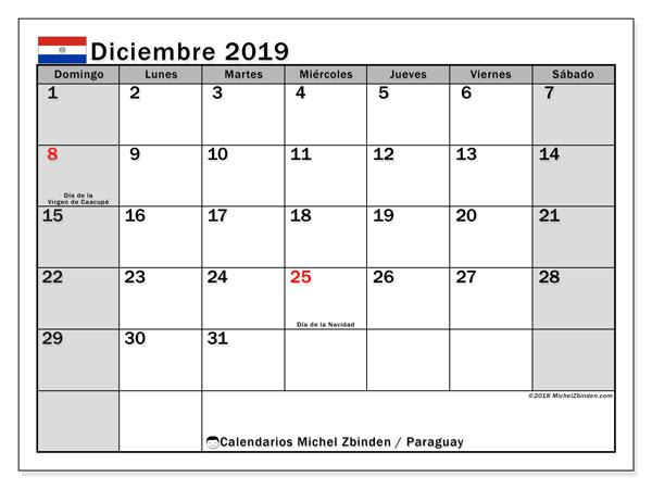 Calendario diciembre 2019, con días feriados en Paraguay. Calendario vacaciones y festivos para imprimir gratis.