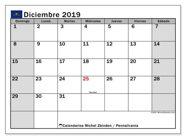 Calendario diciembre 2019, con días feriados en Pennsilvania. Calendario vacaciones y festivos para imprimir gratis.