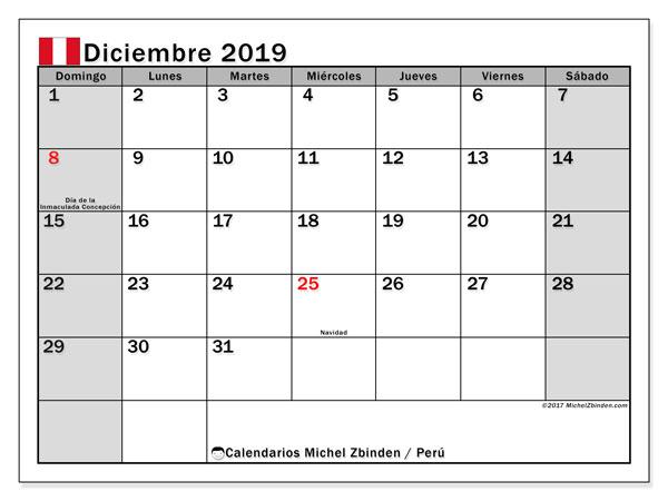 Calendario diciembre 2019, con días feriados en Perú. Calendario vacaciones y festivos para imprimir gratis.