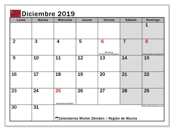 Calendario diciembre 2019, con días feriados en la Región de Murcia. Calendario vacaciones y festivos para imprimir gratis.