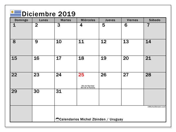 Calendario diciembre 2019, con días feriados de Uruguay. Calendario para imprimir gratis con días festivos.