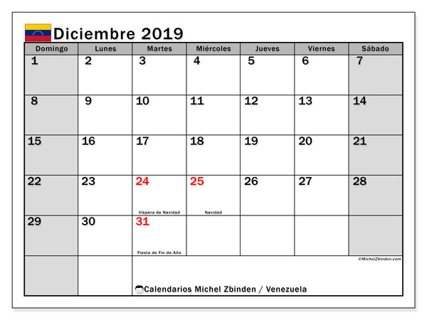 Calendario diciembre 2019, con los días feriados para Venezuela. Calendario gratuito para imprimir.