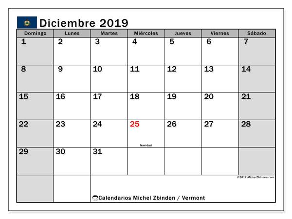 Calendario diciembre 2019, con días feriados de Vermont. Calendario vacaciones y festivos para imprimir gratis.