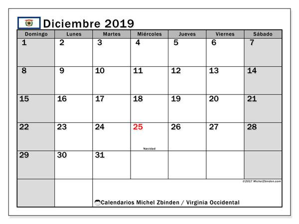 Calendario diciembre 2019, con días feriados de Virginia Occidental. Calendario vacaciones y festivos para imprimir gratis.