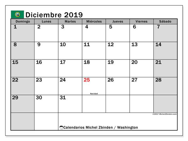 Calendario diciembre 2019, con días feriados de Washington. Calendario vacaciones y festivos para imprimir gratis.