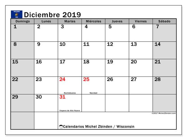 Calendario diciembre 2019, con días feriados de Wisconsin. Calendario para imprimir gratis con días festivos.