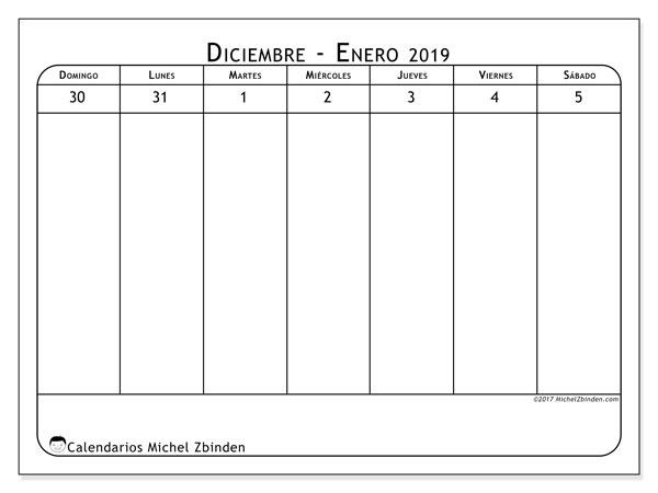 Calendario enero 2019, 43-1DS. Calendario gratuito para imprimir.