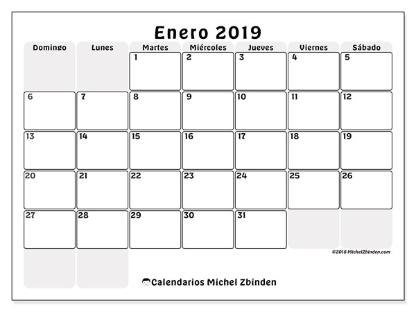Calendarios para imprimir 2019 (DS). Calendario 44DS.