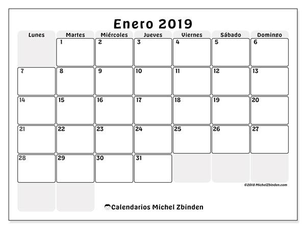 Calendario enero 2019 (44LD). Almanaque para imprimir gratis.