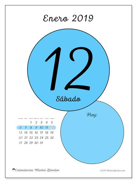 Calendario enero 2019, 45-12DS. Calendario diario para imprimir gratis.