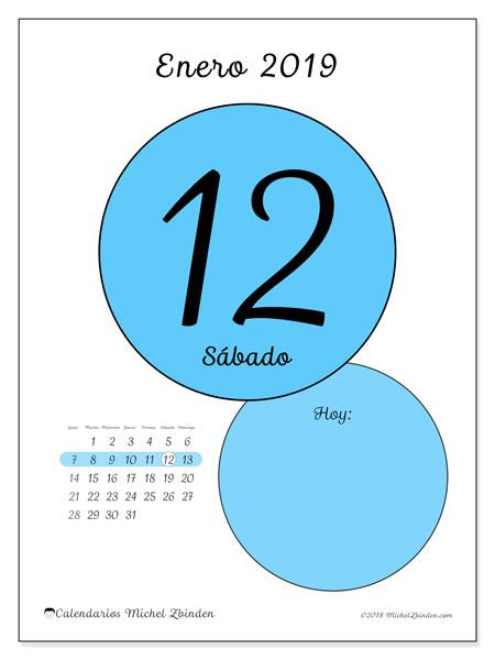 Calendario enero 2019, 45-12LD. Calendario para el día para imprimir gratis.