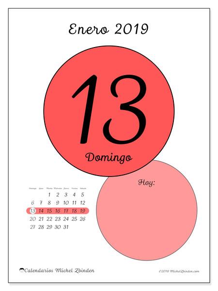 Calendario enero 2019 (45-13DS). Calendario diario para imprimir gratis.