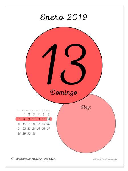 Calendario enero 2019 (45-13LD). Calendario para el día para imprimir gratis.