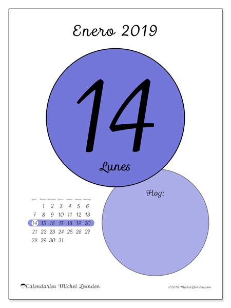 Calendario enero 2019, 45-14LD. Calendario para el día para imprimir gratis.