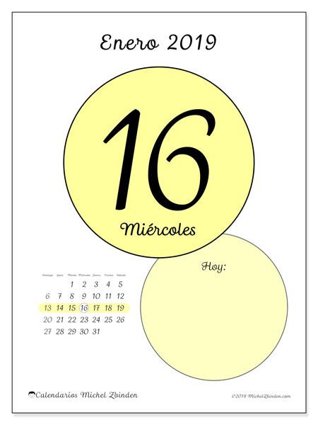 Calendario enero 2019, 45-16DS. Calendario diario para imprimir gratis.