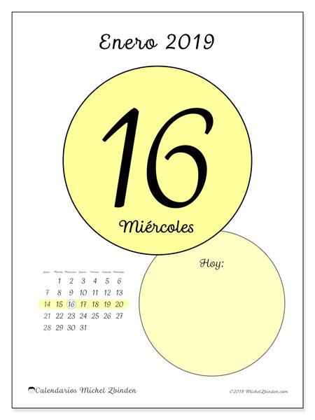 Calendario enero 2019 (45-16LD). Calendario para el día para imprimir gratis.