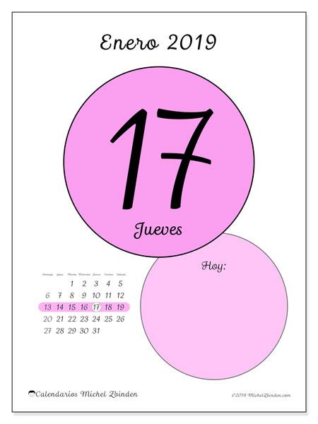 Calendario enero 2019, 45-17DS. Calendario diario para imprimir gratis.