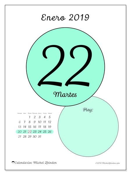 Calendario enero 2019, 45-22DS. Calendario para el día para imprimir gratis.