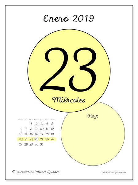 Calendario enero 2019, 45-23DS. Calendario para el día para imprimir gratis.