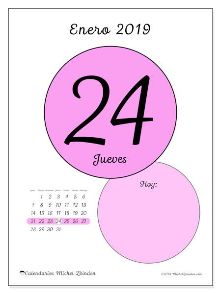 Calendario enero 2019, 45-24LD. Calendario para el día para imprimir gratis.