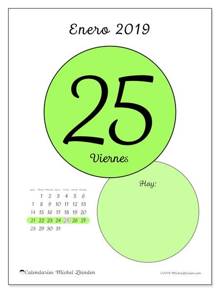 Calendario enero 2019, 45-25LD. Calendario diario para imprimir gratis.