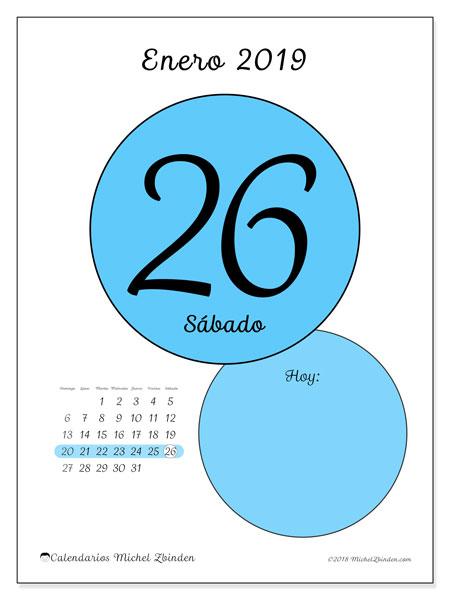 Calendario enero 2019, 45-26DS. Calendario diario para imprimir gratis.