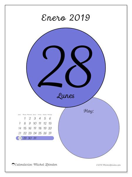 Calendario enero 2019, 45-28LD. Calendario para el día para imprimir gratis.