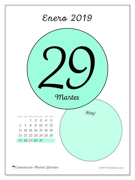 Calendario enero 2019, 45-29DS. Calendario diario para imprimir gratis.