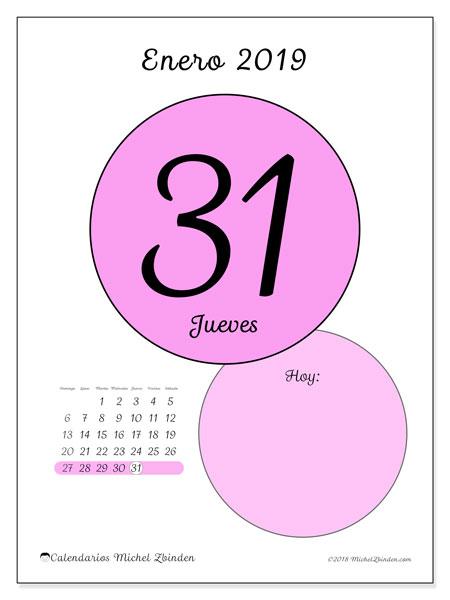 Calendario enero 2019, 45-31DS. Calendario para el día para imprimir gratis.