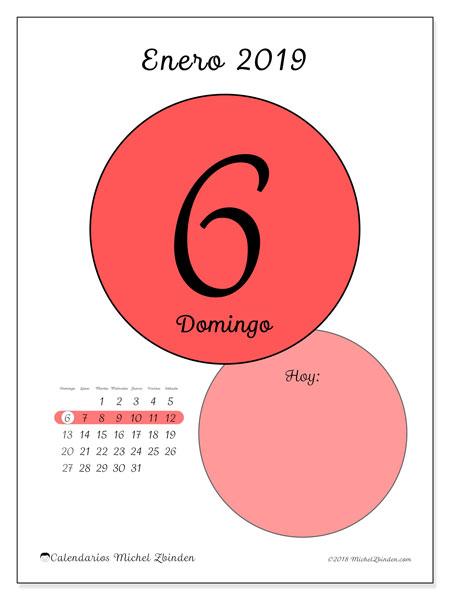 Calendario enero 2019, 45-6DS. Calendario para el día para imprimir gratis.