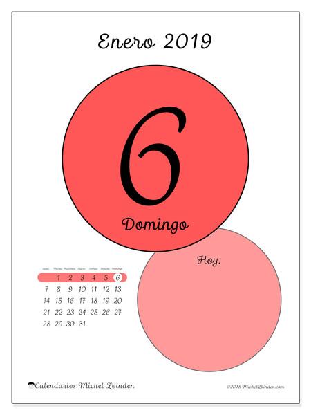 Calendario enero 2019, 45-6LD. Calendario diario para imprimir gratis.