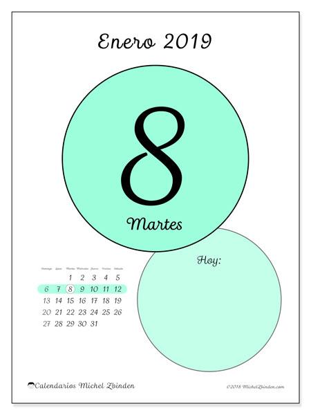 Calendario enero 2019, 45-8DS. Calendario para el día para imprimir gratis.