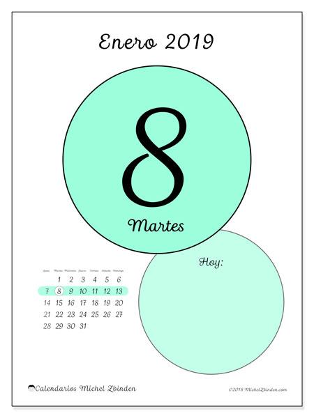 Calendario enero 2019 (45-8LD). Calendario diario para imprimir gratis.
