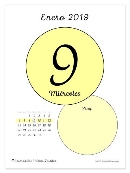Calendario enero 2019, 45-9DS. Calendario diario para imprimir gratis.