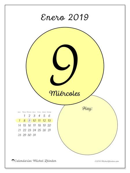 Calendario enero 2019 (45-9LD). Calendario diario para imprimir gratis.
