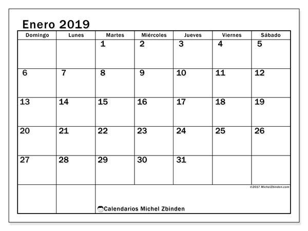 Calendario enero 2019, 50DS. Almanaque para imprimir gratis.