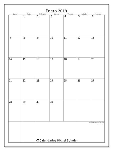 Calendario enero 2019 (52LD). Almanaque para imprimir gratis.