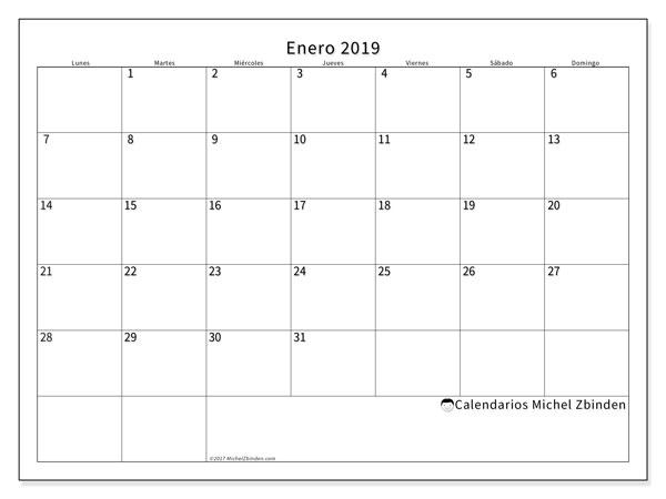 Calendario enero 2019 (53LD). Calendario mensual para imprimir gratis.
