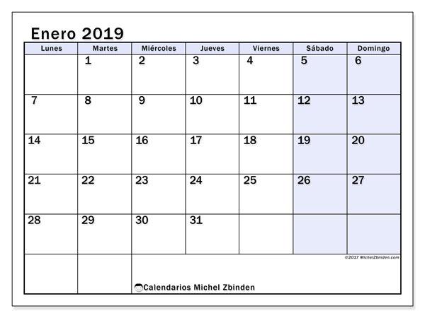 Calendario enero 2019 (57LD). Planificación para imprimir gratis.