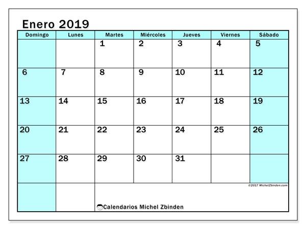 Calendario enero 2019, 59DS. Planificación para imprimir gratis.
