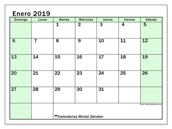 Calendario enero 2019, 60DS. Calendario mensual para imprimir gratis.
