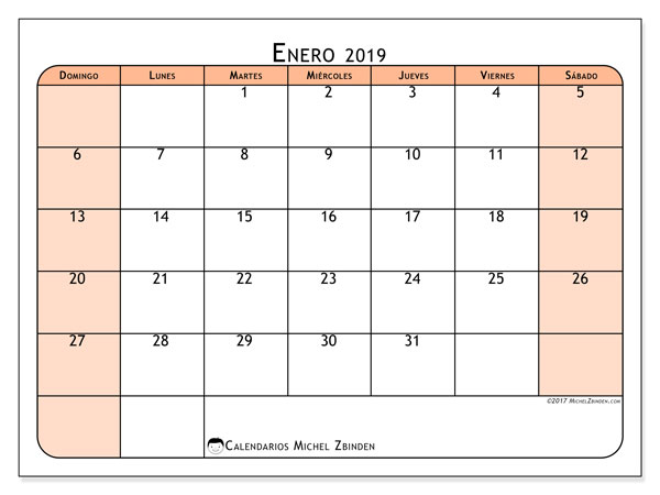 Calendario enero 2019, 61DS. Calendario gratuito para imprimir.