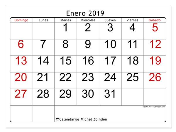 Calendario enero 2019, 62DS. Calendario para el mes para imprimir gratis.