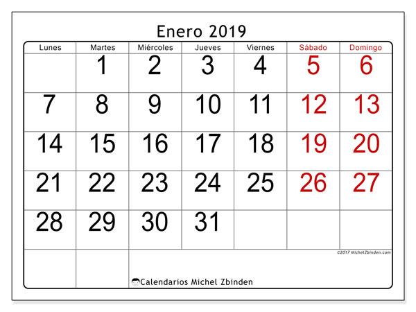 Calendario enero 2019, 62LD. Calendario imprimible gratis.