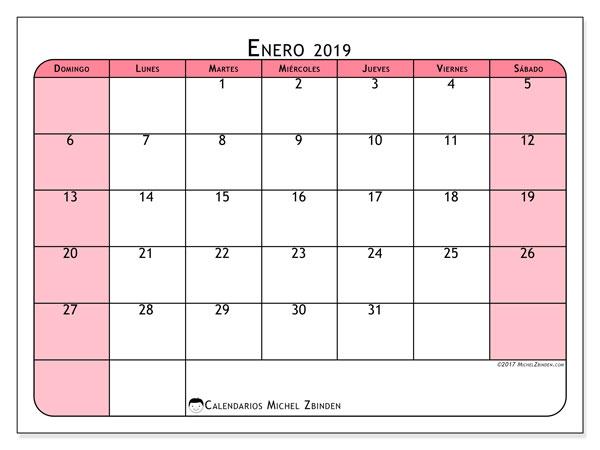Calendario enero 2019, 64DS. Calendario para el mes para imprimir gratis.