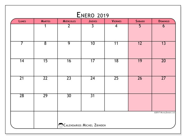 Calendario enero 2019, 64LD. Calendario imprimible gratis.