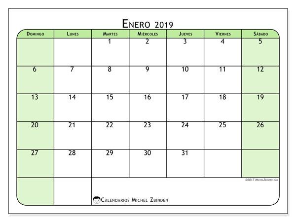 Calendario enero 2019, 65DS. Calendario para imprimir gratis.