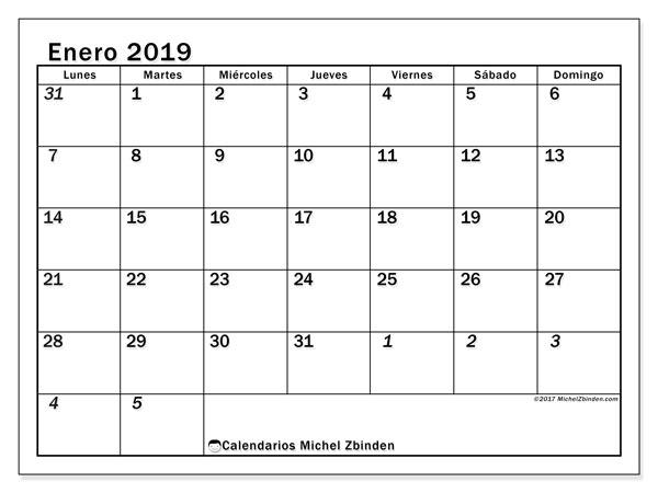 Calendario enero 2019 (66LD). Calendario para el mes para imprimir gratis.