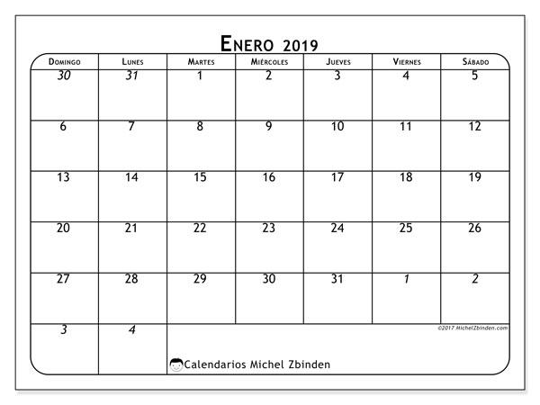 Calendario enero 2019, 67DS. Calendario gratuito para imprimir.