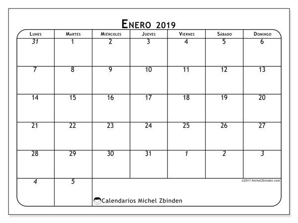 Calendario enero 2019, 67LD. Calendario para el mes para imprimir gratis.